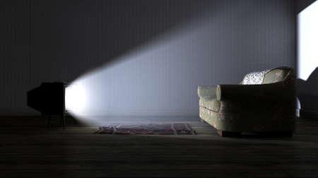 ungeliebt: Eine alte leeren dunklen Raum mit Tapeten und Holzb�den und auf Vintage-Fernsehen Beleuchtung eines einsamen alten Blumen Couch eine geschaltete