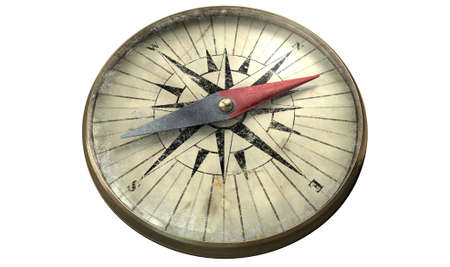 old compass: A vintage compass made of copper with a scratched galss on an isolated white background