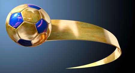 A gold and blue soccer ball being trailed by a gold ribbon swoosh on an isolated dark background photo