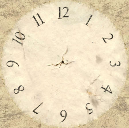 embellished: A flat version of an old aged pocket watch face backing Stock Photo