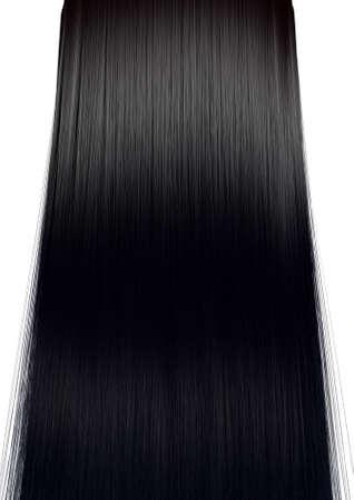 capelli dritti: Una vista simmetrica perfetta di un mazzo di capelli lucidi dritti nero su uno sfondo bianco isolato