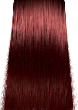 A perfect symmetrical view of a bunch of shiny straight red hair on an isolated white background