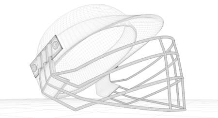 cricket helmet: A wireframe render of a regular cricket helmet with a grill on an isolated background Stock Photo