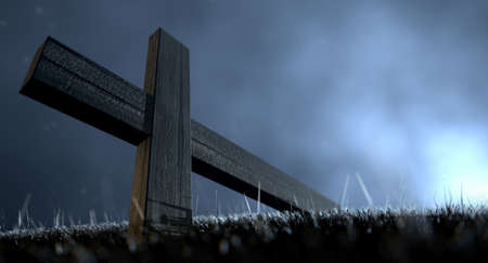passion of the christ: A concept of a wooden crucifix fallen on its side in the grass under a dramatic blue eerie light at night