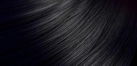 波状曲線スタイルの光沢のあるストレート黒い髪の束のクローズ アップ ビュー