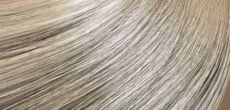 A closeup view of a bunch of shiny straight blonde hair in a wavy curved style Stock Photo