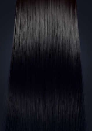 A perfect symmetrical view of a bunch of shiny straight black hair on an isolated colour background Stock Photo