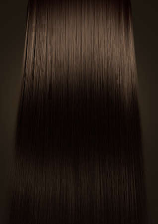 A perfect symmetrical view of a bunch of shiny straight brown hair on an isolated colour background Banco de Imagens - 27300975