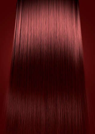 A perfect symmetrical view of a bunch of shiny straight red hair on an isolated colour background