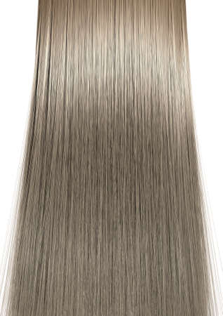 A perfect symmetrical view of a bunch of shiny straight blonde hair on an isolated white background