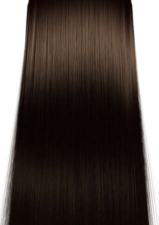 A perfect symmetrical view of a bunch of shiny straight brown hair on an isolated colour background