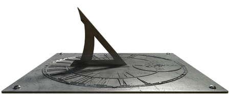 numeros romanos: Un reloj viejo reloj de sol de la vendimia hecha de metal rayado con n�meros romanos en un estudio blanco aislado Foto de archivo