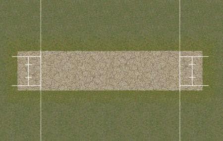クリケットのピッチのレイアウトの直接トップ ビューは草の上を設定
