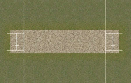 Een directe bovenaanzicht van de lay-out van een cricketveld opgezet op gras Stockfoto