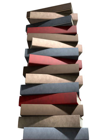 unbranded: A single pile of generic unbranded leather bound books on an isolated studio background Stock Photo