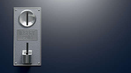 コインから金属硬貨スロット パネルのクローズ アップ操作コピー スペースで空白の青色の背景に入口と出口のスロット マシン