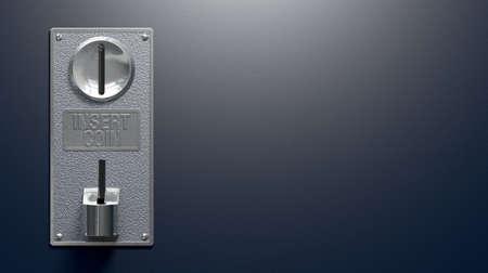 Un primer plano de un panel de ranura de monedas de metal de una máquina que funciona con monedas con las ranuras de entrada y salida en un fondo azul en blanco, con copia espacio