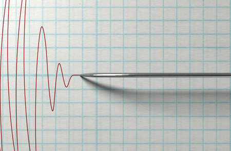 A closeup of a polygraph lie detector test needledrawing a red line on graph paper on an isolated white background