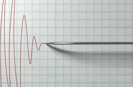 Een close-up van een polygraaf leugendetectortest needledrawing een rode lijn op de grafiek papier op een geïsoleerde witte achtergrond Stockfoto