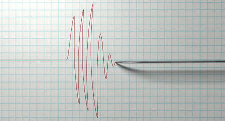 quake: A closeup of a polygraph lie detector test needledrawing a red line on graph paper on an isolated white background