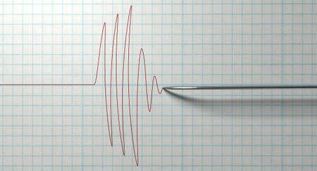 Un primo piano di un test rivelatore di poligrafo lie needledrawing una linea rossa su carta millimetrata su uno sfondo bianco isolato