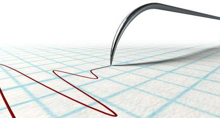 sismogr�fo: Un primer plano de un detector de mentiras pol�grafo needledrawing una l�nea roja en el papel de gr�fico en un fondo blanco aislado