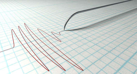 polygraph: A closeup of a polygraph lie detector test needledrawing a red line on graph paper on an isolated white background