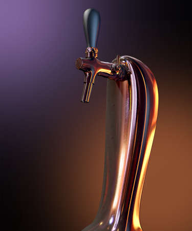 A regular chrome draught beer tap on an isolated dark background Stock Photo - 28251241