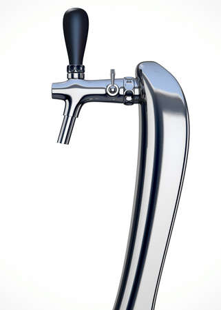 handle: A regular chrome draught beer tap on an isolated white background Stock Photo