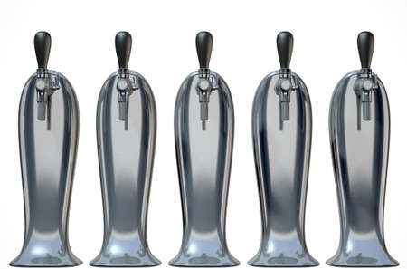A row of regular chrome draught beer taps on an isolated white background Stock Photo
