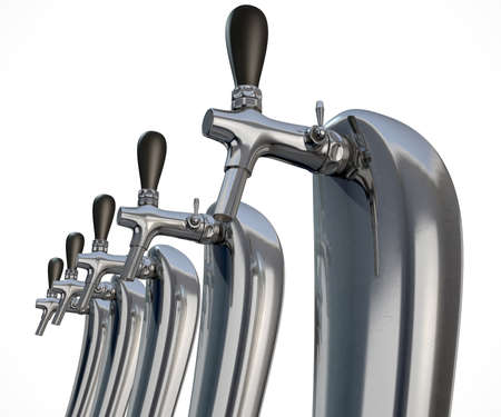 draught: A row of regular chrome draught beer taps on an isolated white background Stock Photo