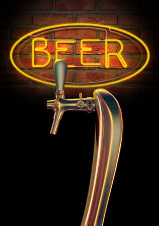 A regular chrome draught beer tap on a facebrick wall background with a neon beer sign illuminated in the background photo