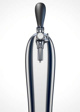 grifos: Un borrador de cromo grifo de cerveza regular sobre un fondo blanco aislado Foto de archivo