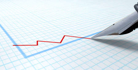 graph paper: An extreme closeup of a fountain pen nib drawing a red declining line on a graph an a graph paper surface Stock Photo