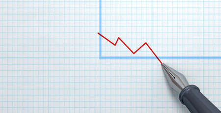decline: An extreme closeup of a fountain pen nib drawing a red declining line on a graph an a graph paper surface Stock Photo