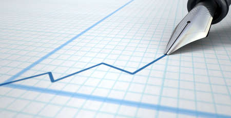 graph paper background: An extreme closeup of a fountain pen nib drawing a blue increasing line on a graph an a graph paper surface