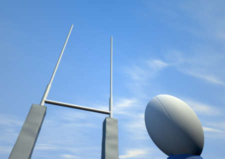 A perspective view of a plain white rugby ball on a blue kicking tee in front of some rugby posts on a blue sky background