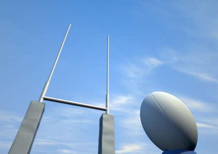 and rugby ball: Una vista en perspectiva de una simple pelota de rugby blanco en una camiseta azul patadas delante de algunos puestos de rugby en un fondo de cielo azul