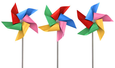 An array regular toy pinwheel windmills with five differently colored vanes on sticks on an isolate white background photo