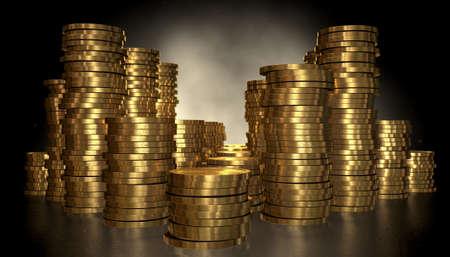 margen: Un primer plano de varias pilas de tamaño de monedas de oro sobre un fondo oscuro aislado