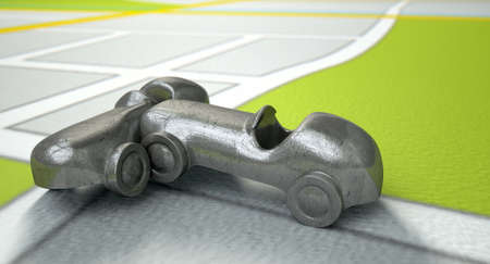 literal: A road accident concept showing two metal toy cars after a collision on a literal gps map background