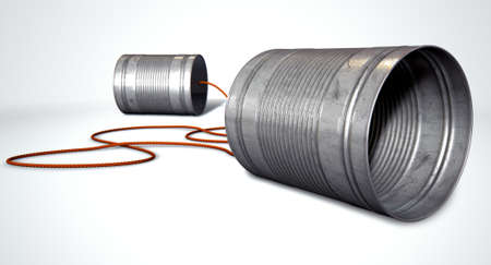 tin can phone: A pair of homemade telephones made from tin cans and connected wth a red cord on an isolated white background