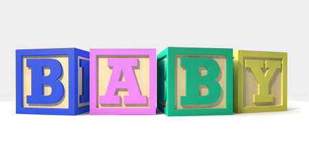 abc blocks: A collection of four regular baby blocks in various colors spelling out the word baby on an isolated white background
