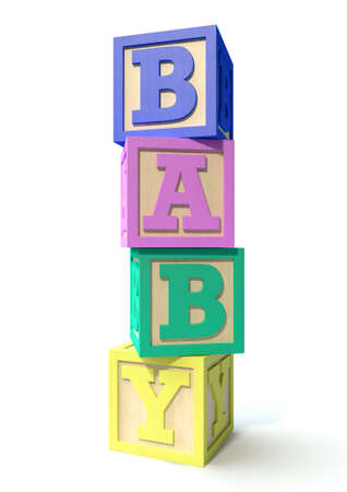 letter blocks: A stack of four regular baby blocks in various colors spelling out the word baby on an isolated