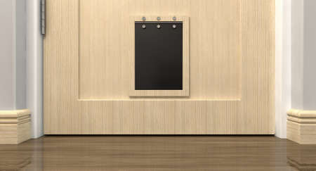 house trained: An inside view of a regular black pet flap on a light wood door surrounded
