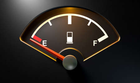 gas gauge: A closeup of a backlit illuminated gas gage with the needle indicating an empty tank on an isolated  Stock Photo