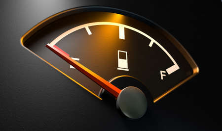 empty tank: A closeup of a backlit illuminated gas gage with the needle indicating an empty tank on an isolated  Stock Photo