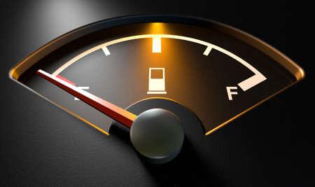 Een close-up van een backlit verlichte gas gage met de naald wijst op een lege tank op een afgelegen Stockfoto
