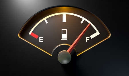 empty tank: A closeup of a backlit illuminated gas gage with the needle indicating a near full tank on an isolated