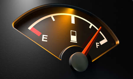 gas gauge: A closeup of a backlit illuminated gas gage with the needle indicating a near full tank on an isolated